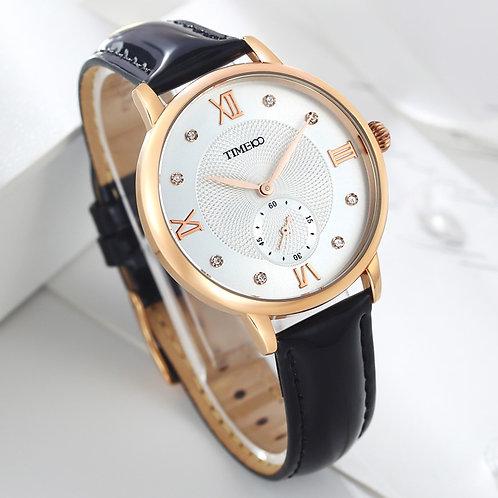 Time100 Women Watch Fashion Black Leather Strap Quartz Watches Ladies Causal
