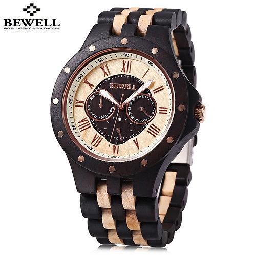 BEWELL Mens Watches, Male Business Wood Watch, Man Dress Quartz Watch Date