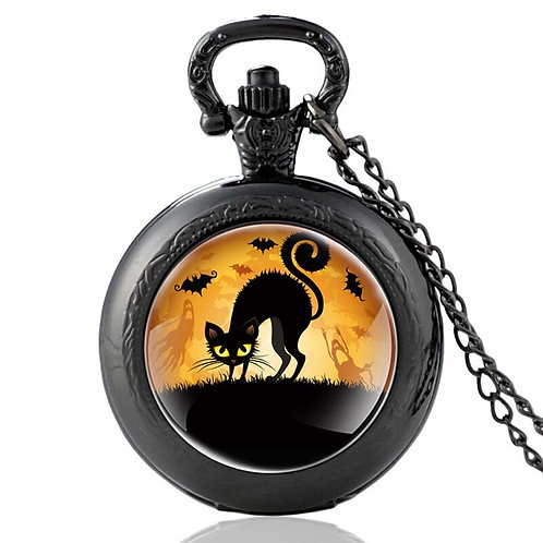 Vintage Halloween Black Cat Quartz Pocket Watch Retro Men Women
