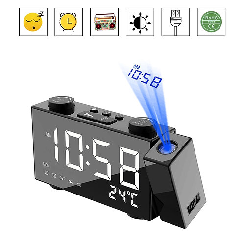 Projection Clock Digital Alarm Clock With Snooze Function Thermometer