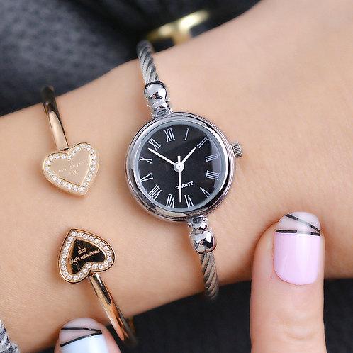 Simple Silver Women Bracelet Watches Elegant Small Bangle Female