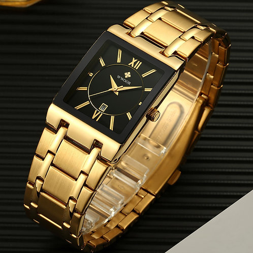 Men Watches Top Brand Luxury WWOOR Gold Black Square Quartz Watch Men