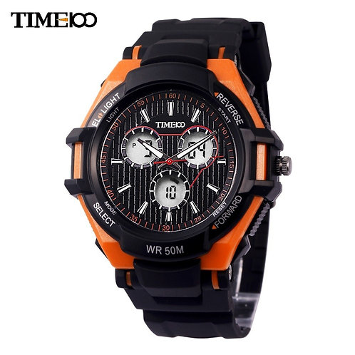 Time100 Outdoor Sport Watch for Men Dual Time Climbing Rubber Strap Three Eyes