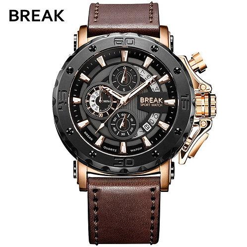 BREAK Mens Watches Top Luxury Brand Waterproof Sport Wrist Watch Chronograph