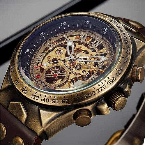 Men Watch Skeleton Automatic Mechanical Male Clock Top Brand Luxury Retro Bronze