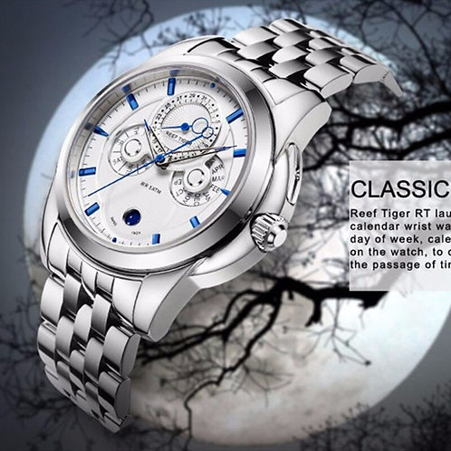 Reef Tiger/Rt Casual Business Watch Complicated Date Calendar Moon Phase RGA830