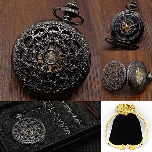 Vintage Mechanical Pocket Watch Set Luxury Pendant Watches for Men Pendant Clock