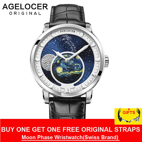AGELOCER New Moon Phase Design Swiss Watch Mens Watches Top Brand Luxury Black