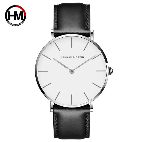 Dropshipping High Quality Rose Gold Dial Watch Men Leather Waterproof Wristwatch