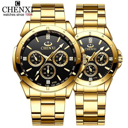Top Brand CHENXI Set Watch Men Women Luxury Golden Quartz Couple Wristwatch
