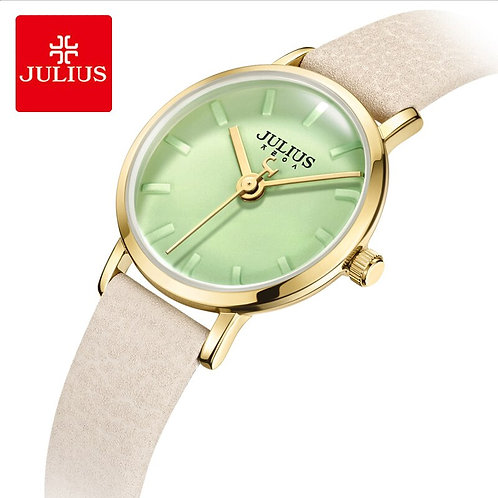Julius Brand Woman Leather Wristwatches Candy Color Dial Waterproof Quartz