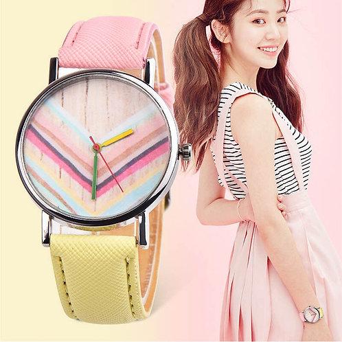 OKTIME Women Quartz Wrist Watch PU Leather Strap Rainbow Round Dial