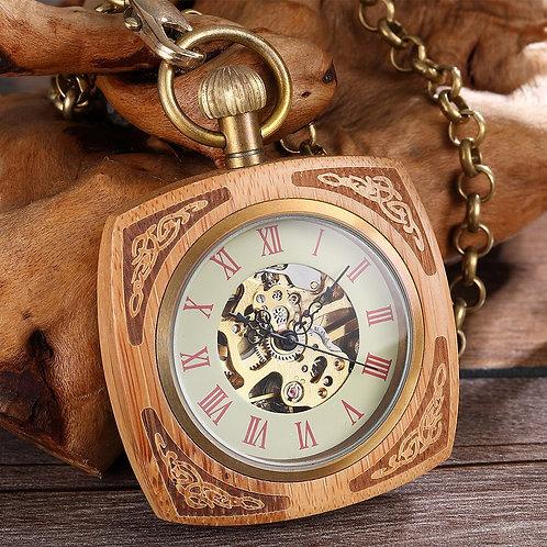 Wooden Case Mechanical Pocket Watch Antique Gold Skeleton Hollow Waist Watch
