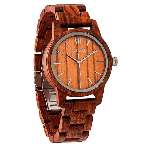 Men's Handmade Engraved Kosso Wooden Timepiece - Personal Message on the Watch