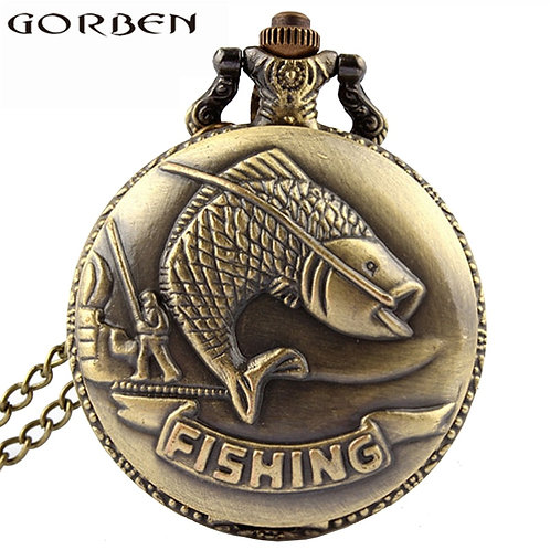Bronze Fishing Antique Style Quartz Pocket Watch Vintage Interesting Design