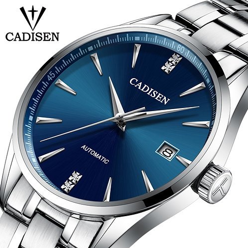 Genuine Luxury CADISEN Brand Men Full Steel Automatic Mechanical Male Self-Wind
