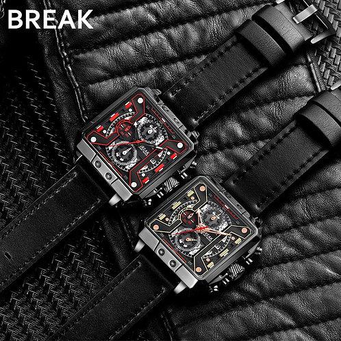 BREAK Men Luxury Fashion Casual Square Dial Wrist Watch Quartz Sport
