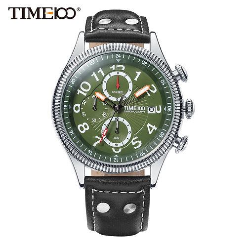 Time100 Watches Men Leather Strap Quartz Watches Green Dial Calendar Auto