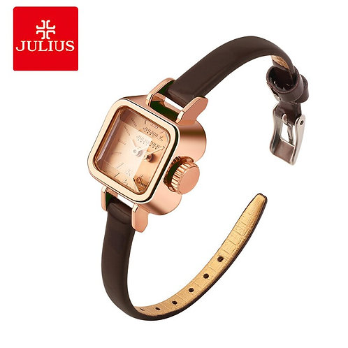 Julius Unique Square Small Dial Small Ladies Watches Women Thin Leather Strap