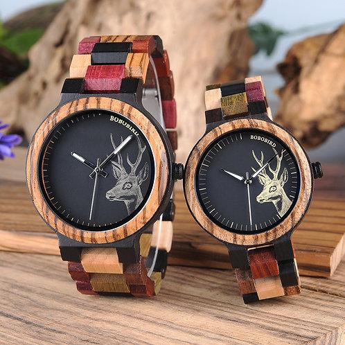 Reloj Mujer BOBO BIRD Wooden Couple Watch Men Women Valentine Birthday