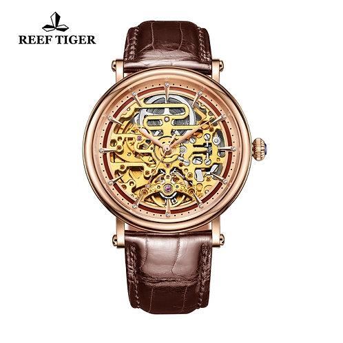 Reef Tiger/Rt Mens Mechanical Skeleton Watch With Rose Gold RGA1917