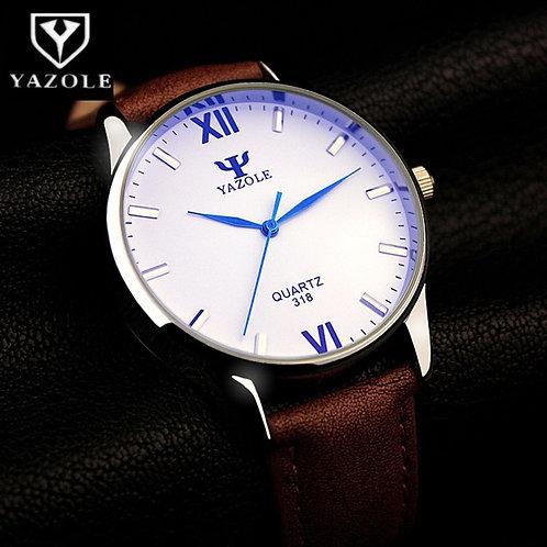 YAZOLE Blue Glass Watch Men Watch Fashion Men's Watch Waterproof Leather Mens