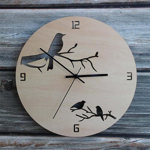 Hollow Birds Wooden Round Wall Clock Creative Watch Modern Design Silent