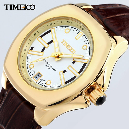 TIME100 Women Watches Water Reistant Gold Alloy Case Brown Leather Strap