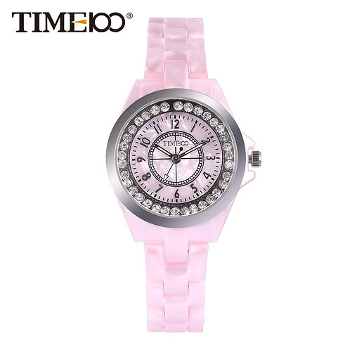 New Time100 Elegance Watches Women Quartz Watches Simulated Pink Ceramics