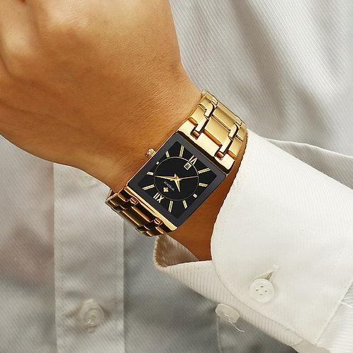 Men Watches Top Brand Luxury WWOOR Gold Black Square Quartz Watch Men 2020
