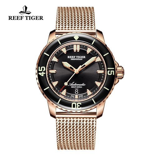 Reef Tiger/Rt Luxury Dive Watch Mens With Date Super Rose Gold RGA3035