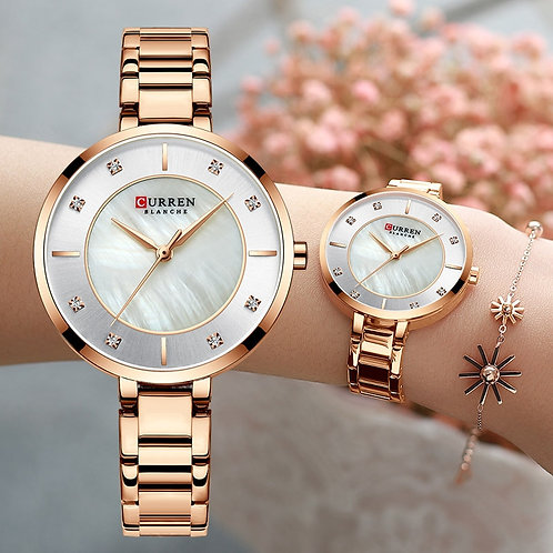 Curren Woman Watches Rose Gold Top Brand Luxury Watch Women Quartz Waterproof