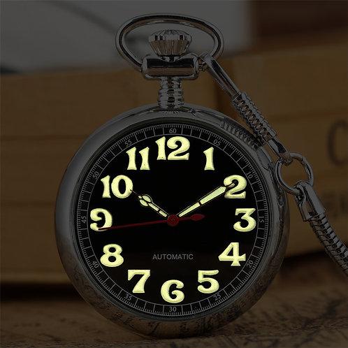 Luminous Arabic Numerals Display Mechanical Self Winding Pocket Watch Exquisite