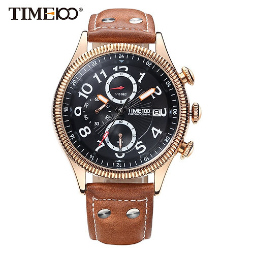 Time100 Watch Men Brown Leather Strap Quartz Watches Calendar Auto Date
