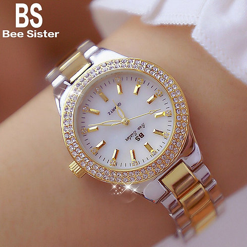 2019 Luxury Brand Lady Crystal Watch Women Dress Watch Fashion Rose Gold Quartz