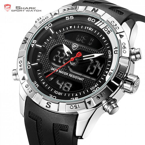 Hooktooth SHARK Sport Watch for Men Double Movement Chronograph Alarm LCD Male