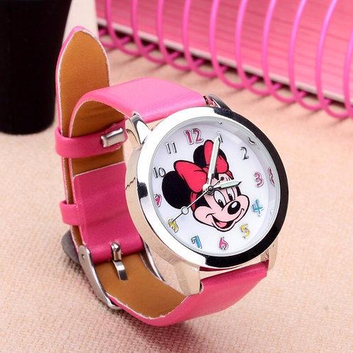 New Arrival Fashion Leather Cute Minnie Desgin Kids Watch Cartoon WristWatch