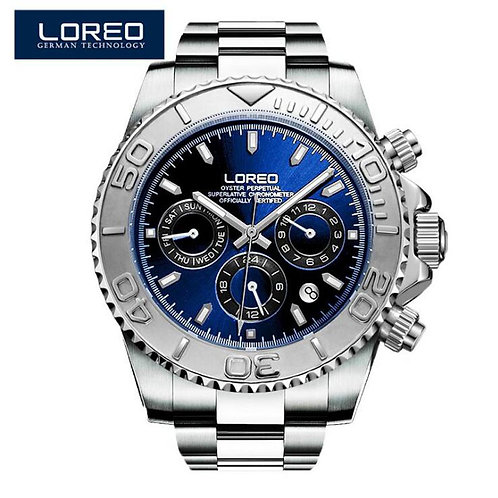 LOREO Men Watches Auto Date Sapphire Watch Sports Stainless