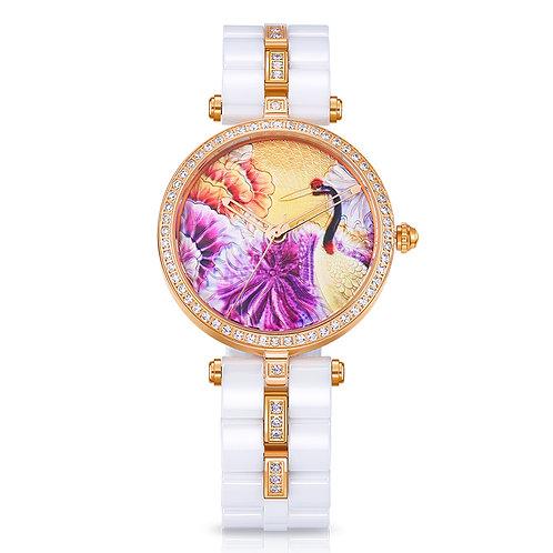TIME100 Unique Ceramic Women's Wristwatches Three-Dimensional Crane Pattern