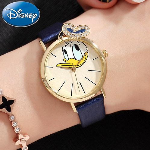 Disney Donald Duck Girl Crystal Quartz Waterproof Watch Student Leather Watch