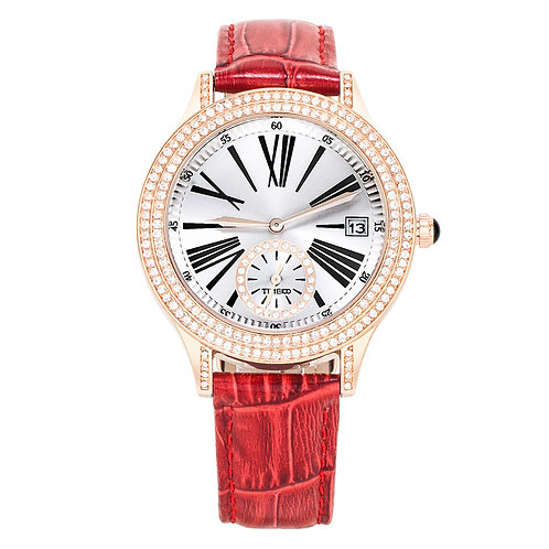 TIME100 Women Watch Roman Numerals Dial Calendar Red Leather Quartz