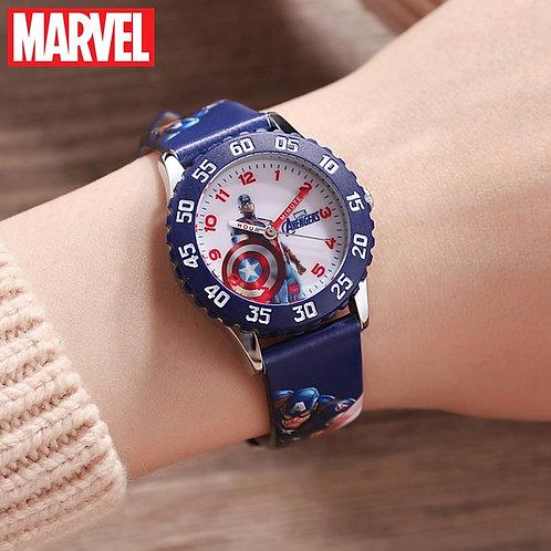Marvel Avengers Captain America Iron Men Children Blue Red PU Band Quartz
