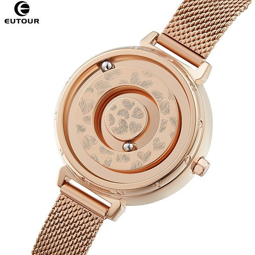 Gold Watch Woman EUTOUR E032 Magnetic Ball Show Ladies Watch Quartz Women's