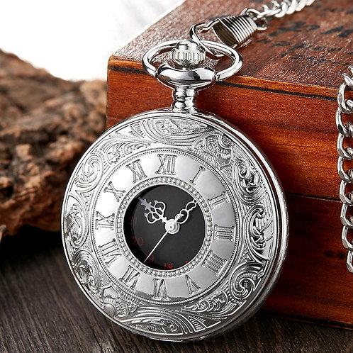 Retro Bronze Vintage Pocket Watch Necklace Chain Pendant Black Antique Steampunk