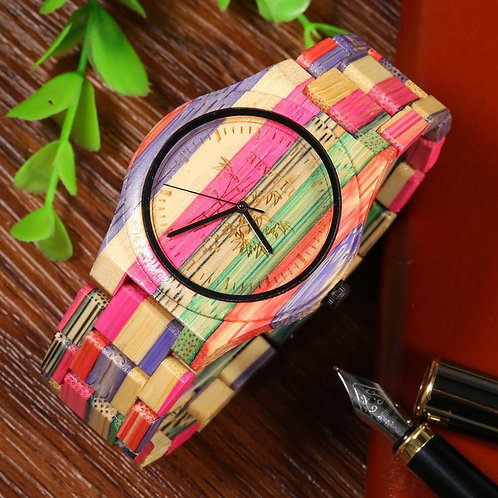 BEWELL Men Quartz Watch Handmade Colorful Bamboo Wood Fashionable