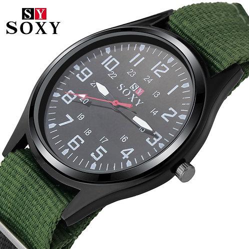 Fashion Nylon Watch Men Brand New SOXY Men's Sport Quartz Wrist Military Watch