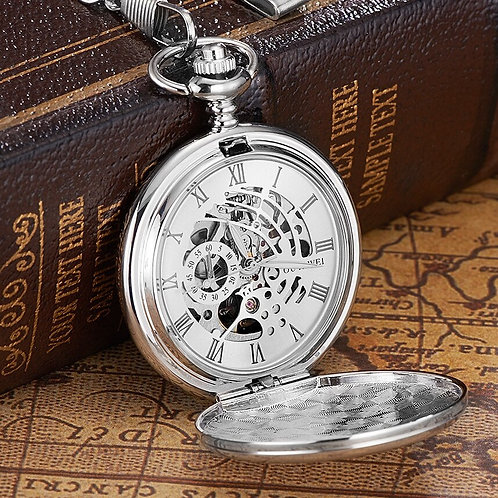 New OYW Brand Stainless Steel Men Fashion Casual Pocket Watch Skeleton Dial Silv