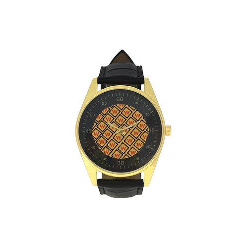 Men's Golden Leather Strap Wakerlook Watch