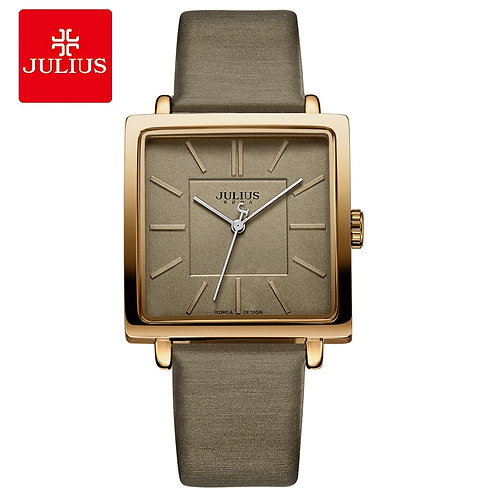 Julius Brand Quartz Watches Women Clock Gold Square Leather Bracelet JA-354