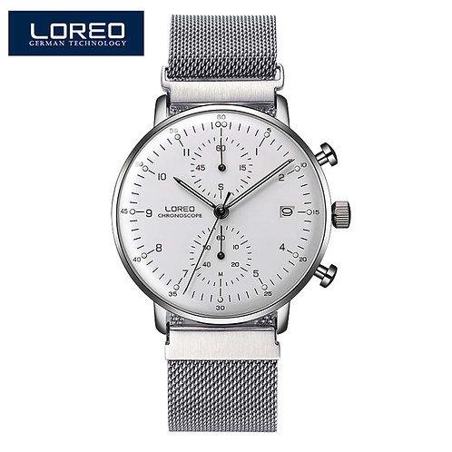 LOREO Fashion Silver Men Watches 2018 High Quality Ultra Thin Quartz Watch Mens